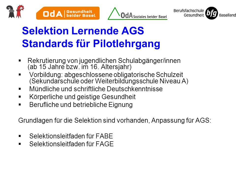 Selektion Lernende AGS Standards für Pilotlehrgang Rekrutierung von jugendlichen Schulabgänger/innen (ab 15 Jahre bzw.