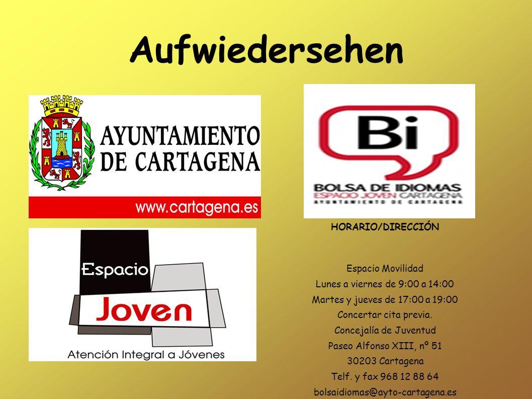 Aufwiedersehen HORARIO/DIRECCIÓN Espacio Movilidad Lunes a viernes de 9:00 a 14:00 Martes y jueves de 17:00 a 19:00 Concertar cita previa. Concejalía