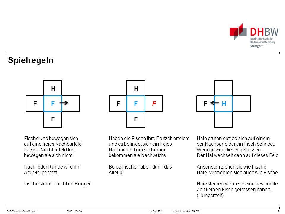 DHBW-Stuttgart/Frank M. HoyerSWE 1 - Wa-Tor 10. April 2011geändert: 14. März 2014, FMH Spielregeln 2 Fische und bewegen sich auf eine freies Nachbarfe