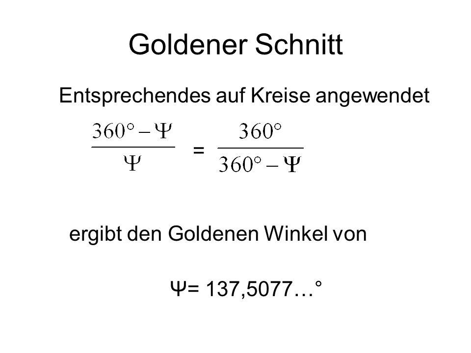 Goldener Schnitt Entsprechendes auf Kreise angewendet = ergibt den Goldenen Winkel von Ψ= 137,5077…°