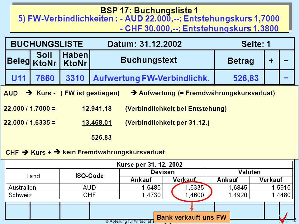 © Abteilung für Wirtschaftspädagogik, WU-Wien 12 5) FW-Verbindlichkeiten : - AUD 22.000,--; Entstehungskurs 1,7000 - CHF 30.000,--; Entstehungskurs 1,