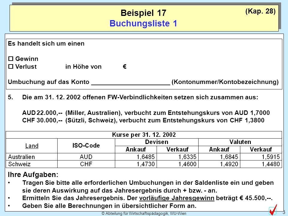 © Abteilung für Wirtschaftspädagogik, WU-Wien 3 Beispiel 17 Buchungsliste 1 Es handelt sich um einen Gewinn Verlust in Höhe von Umbuchung auf das Kont