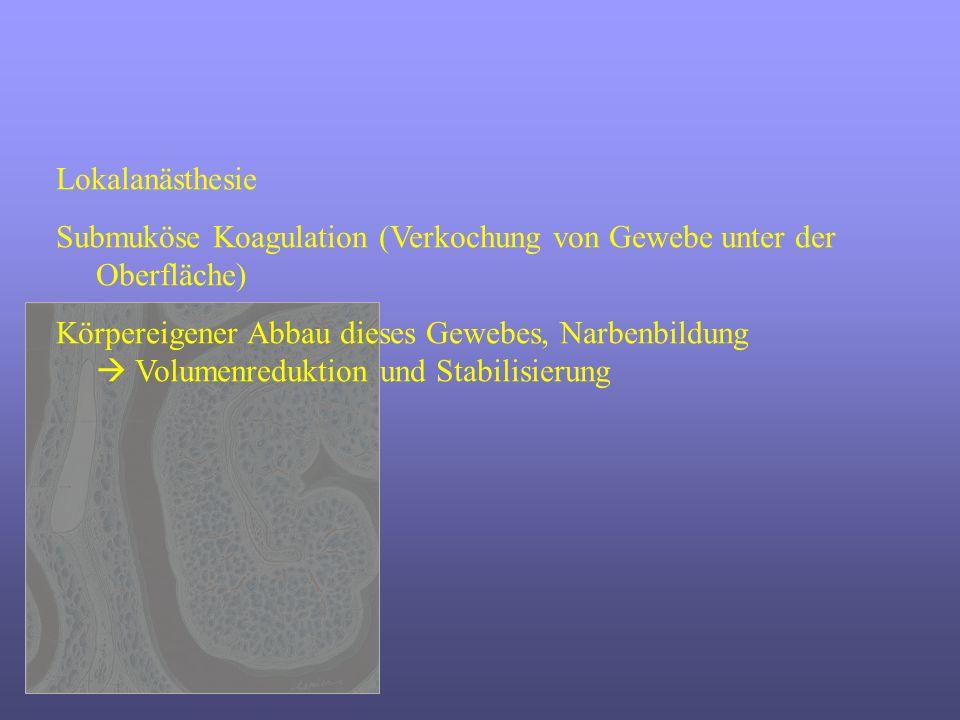 Lokalanästhesie Submuköse Koagulation (Verkochung von Gewebe unter der Oberfläche) Körpereigener Abbau dieses Gewebes, Narbenbildung Volumenreduktion