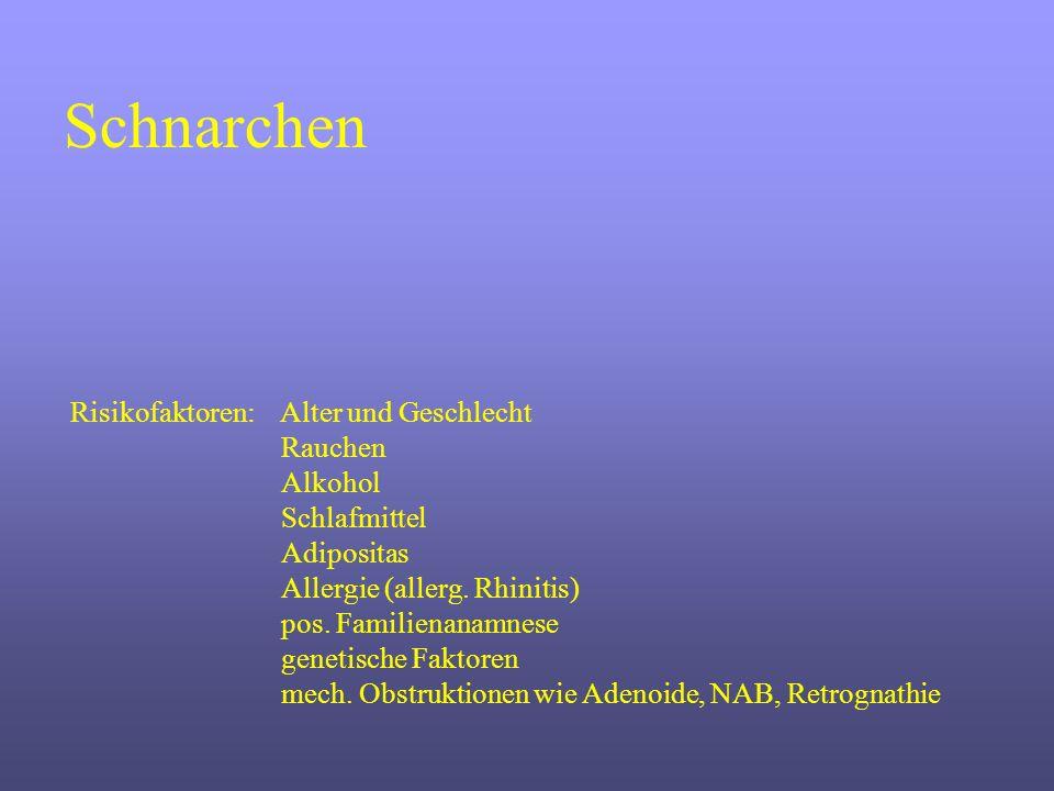Schnarchen Risikofaktoren: Alter und Geschlecht Rauchen Alkohol Schlafmittel Adipositas Allergie (allerg. Rhinitis) pos. Familienanamnese genetische F