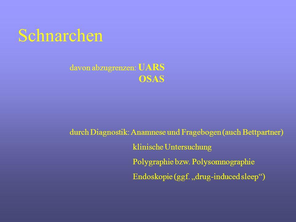 Schnarchen durch Diagnostik: Anamnese und Fragebogen (auch Bettpartner) klinische Untersuchung Polygraphie bzw. Polysomnographie Endoskopie (ggf. drug