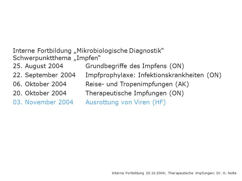 Interne Fortbildung Mikrobiologische Diagnostik Schwerpunktthema Impfen 25.