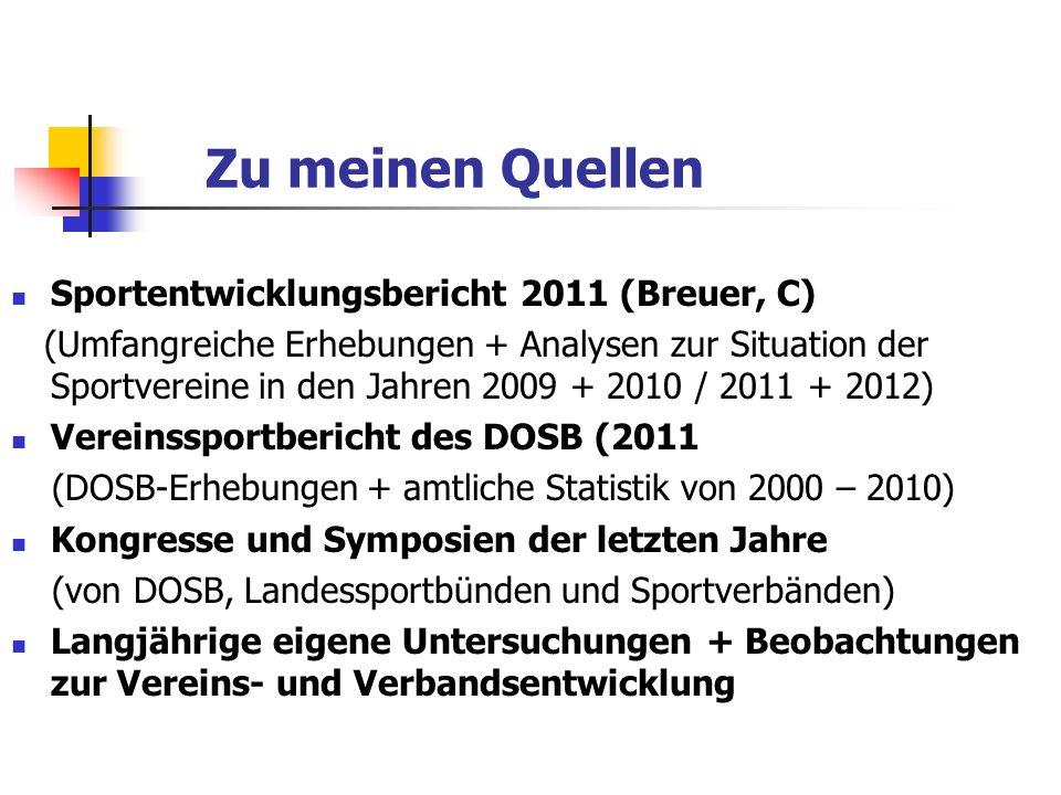 Zu meinen Quellen Sportentwicklungsbericht 2011 (Breuer, C) (Umfangreiche Erhebungen + Analysen zur Situation der Sportvereine in den Jahren 2009 + 20