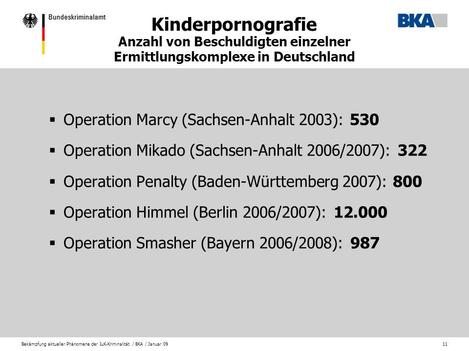 Bekämpfung aktueller Phänomene der IuK-Kriminalität / BKA / Januar 0911 Kinderpornografie Anzahl von Beschuldigten einzelner Ermittlungskomplexe in De