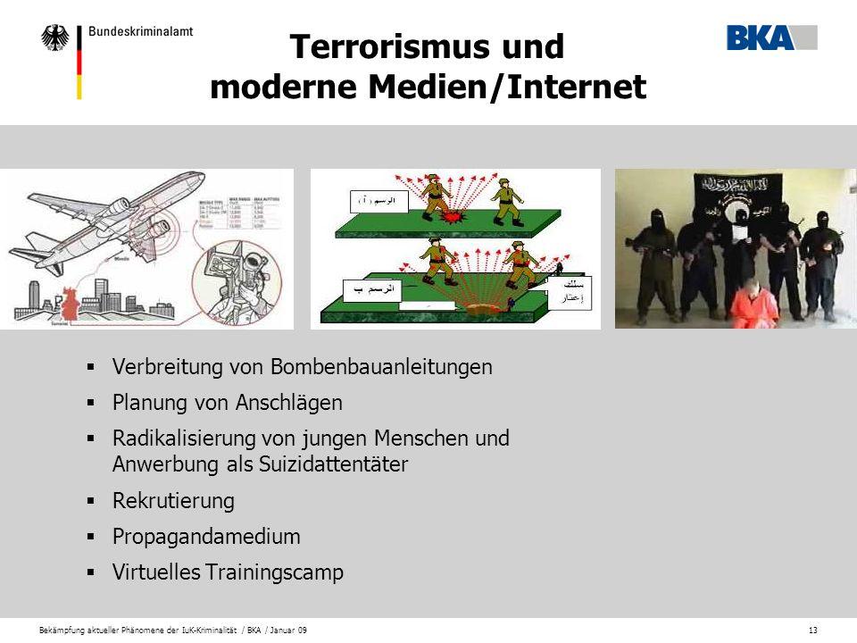 Bekämpfung aktueller Phänomene der IuK-Kriminalität / BKA / Januar 0913 Verbreitung von Bombenbauanleitungen Planung von Anschlägen Radikalisierung vo