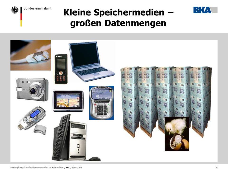 Bekämpfung aktueller Phänomene der IuK-Kriminalität / BKA / Januar 0914 Kleine Speichermedien – großen Datenmengen