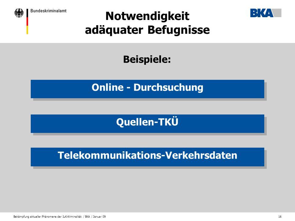 Bekämpfung aktueller Phänomene der IuK-Kriminalität / BKA / Januar 0916 Notwendigkeit adäquater Befugnisse Online - Durchsuchung Quellen-TKÜ Telekommu