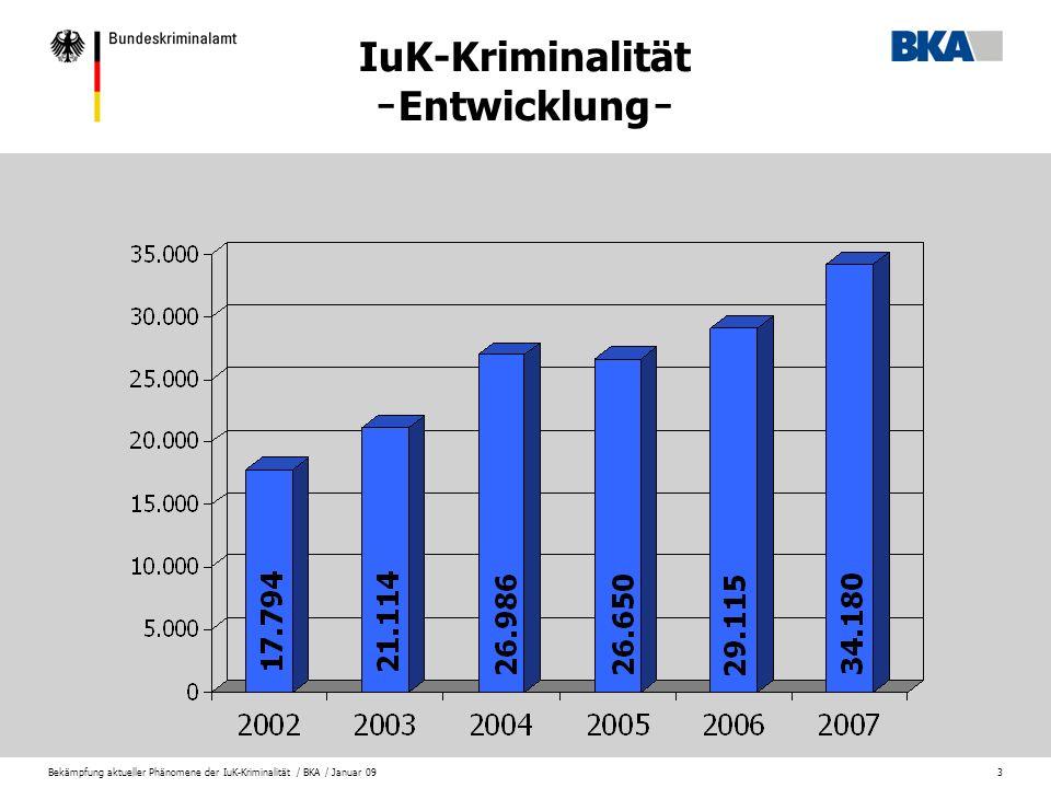 Bekämpfung aktueller Phänomene der IuK-Kriminalität / BKA / Januar 093 IuK-Kriminalität ̵ Entwicklung ̵