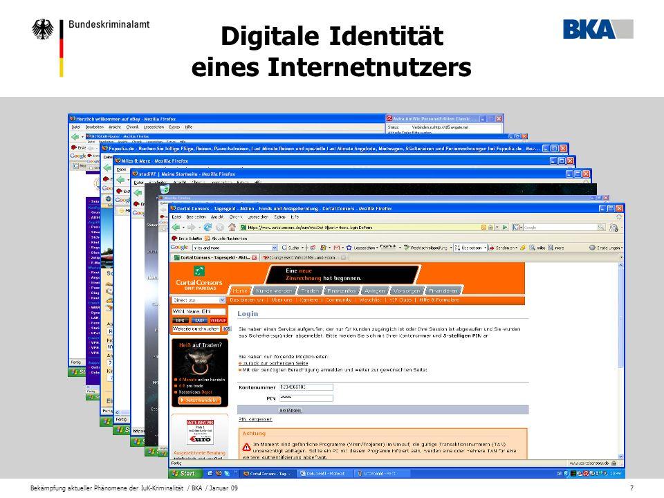 Bekämpfung aktueller Phänomene der IuK-Kriminalität / BKA / Januar 098 DDOS – Attacke mittels Bot-Netz http://www.dossen.de/SeiteDieEsNichtGibt.htm Webserver ist durch sinnlose Anfragen überlastet und stellt schließlich seine Dienste vollständig ein.