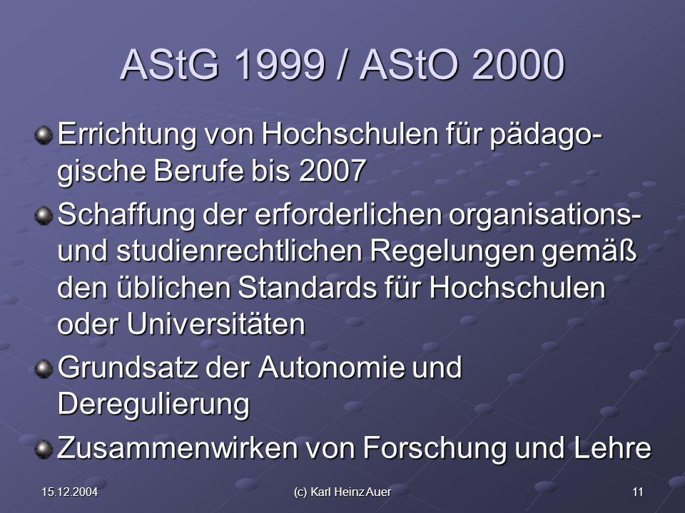 1115.12.2004(c) Karl Heinz Auer AStG 1999 / AStO 2000 Errichtung von Hochschulen für pädago- gische Berufe bis 2007 Schaffung der erforderlichen organisations- und studienrechtlichen Regelungen gemäß den üblichen Standards für Hochschulen oder Universitäten Grundsatz der Autonomie und Deregulierung Zusammenwirken von Forschung und Lehre
