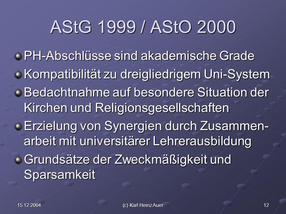 1215.12.2004(c) Karl Heinz Auer AStG 1999 / AStO 2000 PH-Abschlüsse sind akademische Grade Kompatibilität zu dreigliedrigem Uni-System Bedachtnahme auf besondere Situation der Kirchen und Religionsgesellschaften Erzielung von Synergien durch Zusammen- arbeit mit universitärer Lehrerausbildung Grundsätze der Zweckmäßigkeit und Sparsamkeit