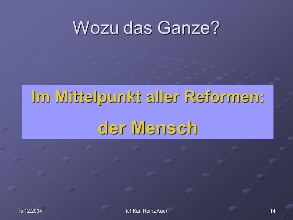 1415.12.2004(c) Karl Heinz Auer Wozu das Ganze Im Mittelpunkt aller Reformen: der Mensch