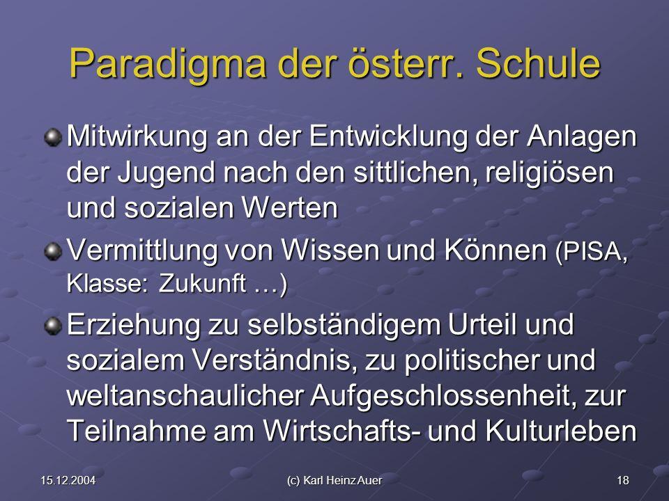 1815.12.2004(c) Karl Heinz Auer Paradigma der österr. Schule Mitwirkung an der Entwicklung der Anlagen der Jugend nach den sittlichen, religiösen und