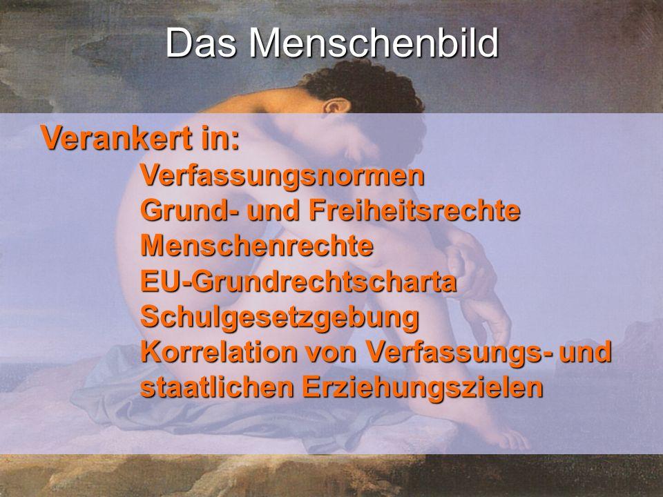 Das Menschenbild Verankert in: Verfassungsnormen Grund- und Freiheitsrechte MenschenrechteEU-GrundrechtschartaSchulgesetzgebung Korrelation von Verfassungs- und staatlichen Erziehungszielen