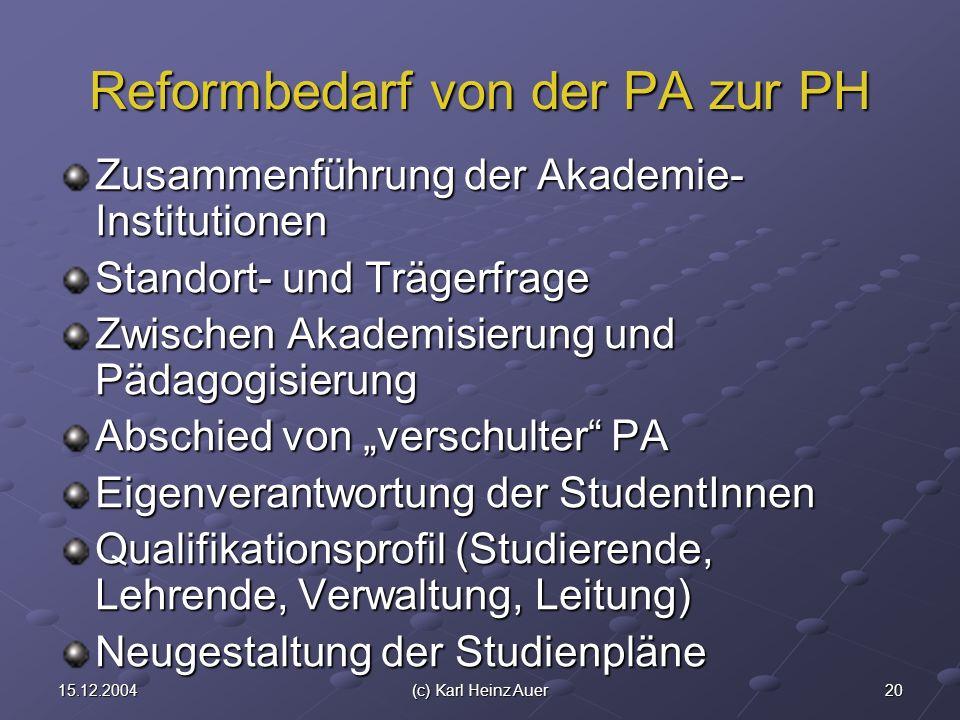 2015.12.2004(c) Karl Heinz Auer Reformbedarf von der PA zur PH Zusammenführung der Akademie- Institutionen Standort- und Trägerfrage Zwischen Akademis