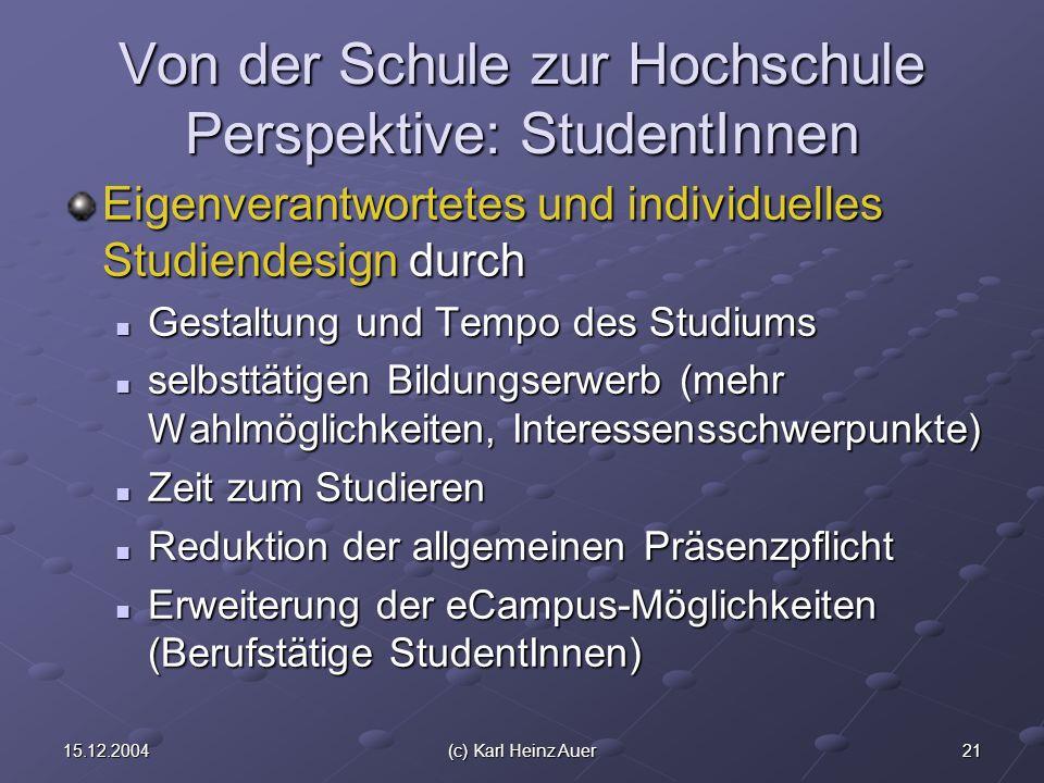 2115.12.2004(c) Karl Heinz Auer Von der Schule zur Hochschule Perspektive: StudentInnen Eigenverantwortetes und individuelles Studiendesign durch Gest