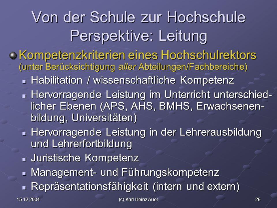 2815.12.2004(c) Karl Heinz Auer Von der Schule zur Hochschule Perspektive: Leitung Kompetenzkriterien eines Hochschulrektors (unter Berücksichtigung aller Abteilungen/Fachbereiche) Habilitation / wissenschaftliche Kompetenz Habilitation / wissenschaftliche Kompetenz Hervorragende Leistung im Unterricht unterschied- licher Ebenen (APS, AHS, BMHS, Erwachsenen- bildung, Universitäten) Hervorragende Leistung im Unterricht unterschied- licher Ebenen (APS, AHS, BMHS, Erwachsenen- bildung, Universitäten) Hervorragende Leistung in der Lehrerausbildung und Lehrerfortbildung Hervorragende Leistung in der Lehrerausbildung und Lehrerfortbildung Juristische Kompetenz Juristische Kompetenz Management- und Führungskompetenz Management- und Führungskompetenz Repräsentationsfähigkeit (intern und extern) Repräsentationsfähigkeit (intern und extern)