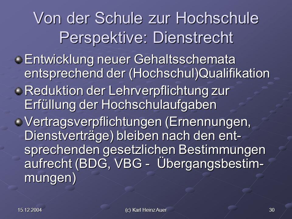 3015.12.2004(c) Karl Heinz Auer Von der Schule zur Hochschule Perspektive: Dienstrecht Entwicklung neuer Gehaltsschemata entsprechend der (Hochschul)Qualifikation Reduktion der Lehrverpflichtung zur Erfüllung der Hochschulaufgaben Vertragsverpflichtungen (Ernennungen, Dienstverträge) bleiben nach den ent- sprechenden gesetzlichen Bestimmungen aufrecht (BDG, VBG - Übergangsbestim- mungen)