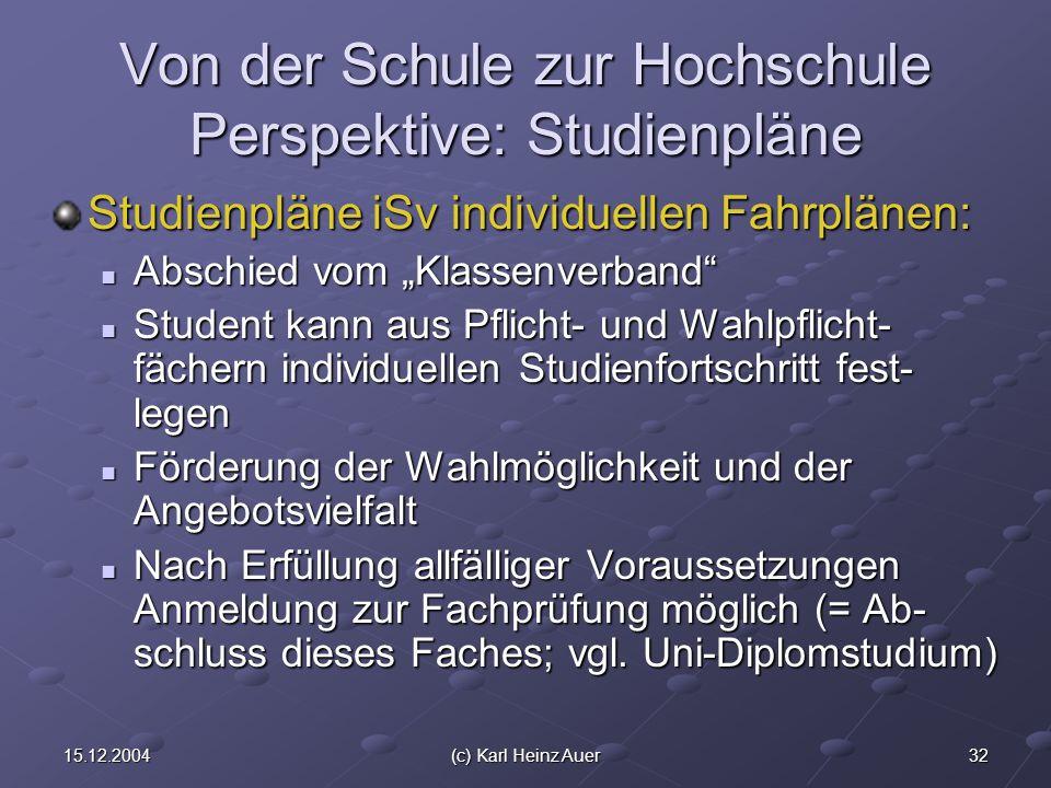3215.12.2004(c) Karl Heinz Auer Von der Schule zur Hochschule Perspektive: Studienpläne Studienpläne iSv individuellen Fahrplänen: Abschied vom Klasse