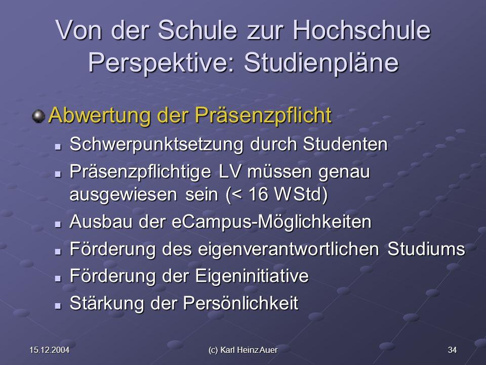 3415.12.2004(c) Karl Heinz Auer Von der Schule zur Hochschule Perspektive: Studienpläne Abwertung der Präsenzpflicht Schwerpunktsetzung durch Studente