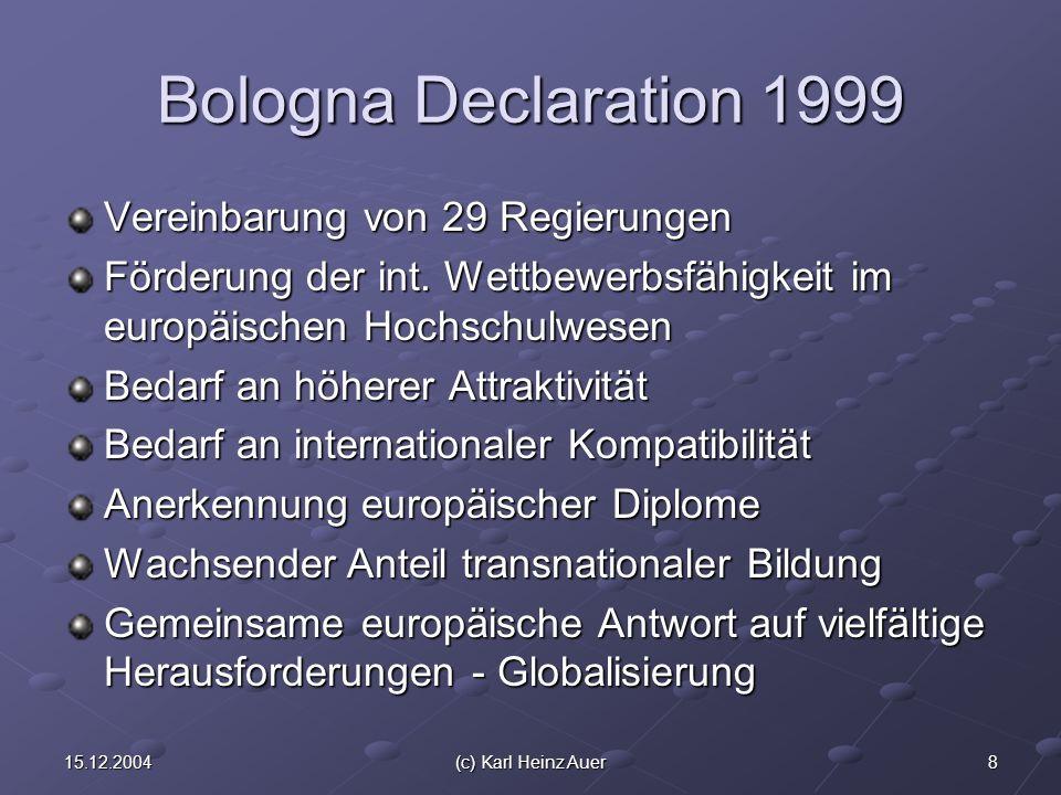 915.12.2004(c) Karl Heinz Auer Bologna Verpflichtungen Schaffung eines kompatiblen europäischen Hochschulraums bis 2010 Vergleichsrahmen für berufsqualifizierende Studienabschlüsse Anrechnung von ECTS-kompatiblen Studienleistungen Förderung der europäischen Dimension im Qualitätssicherungssystem