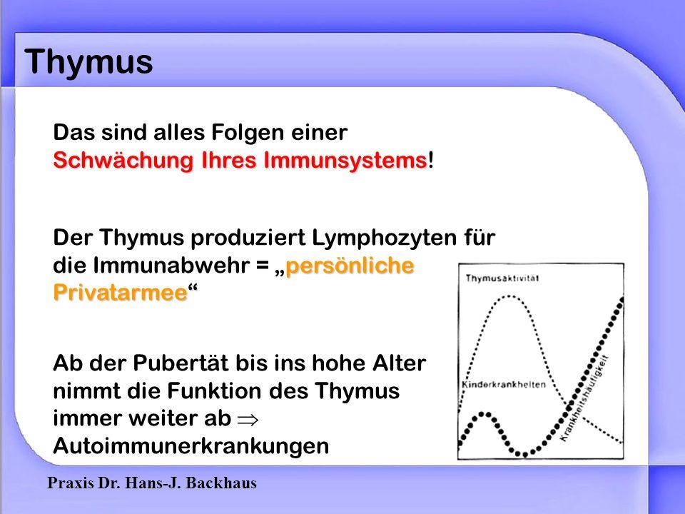 Praxis Dr.Hans-J. Backhaus Thymus Das sind alles Folgen einer Schwächung Ihres Immunsystems.