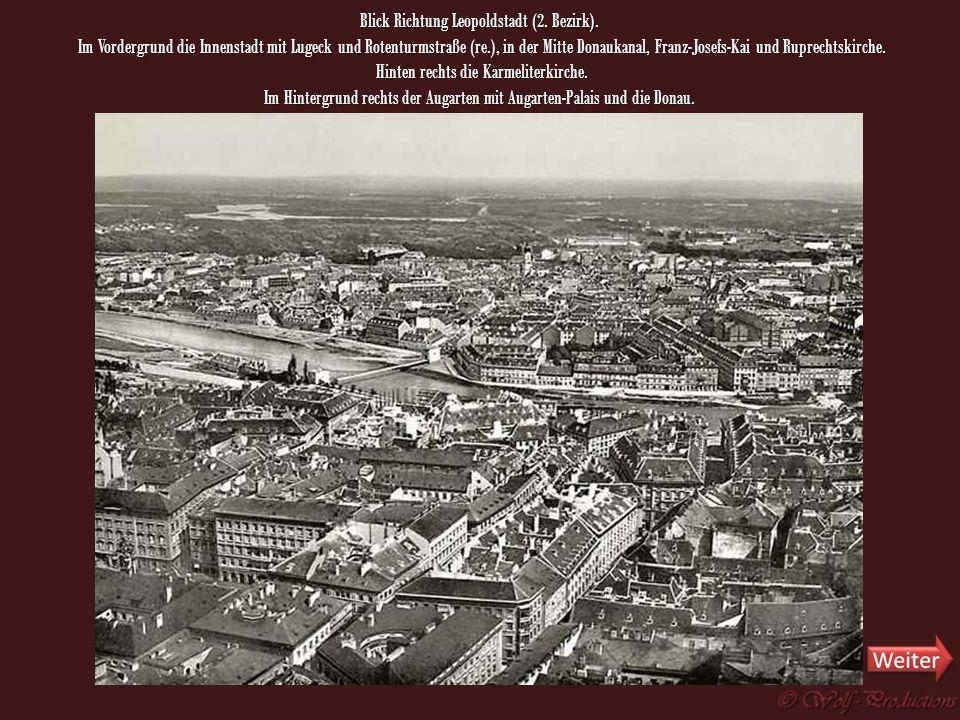 Blick Richtung Alsergrund und Leopoldstadt, die heutigen Bezirke 9 und 2. Links in der Bildmitte die Kirche Maria am Gestade, im Vordergrund der Hohe