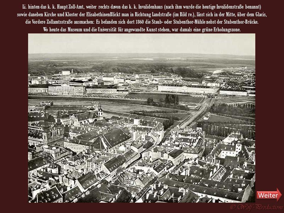 Blick in Richtung Leopoldstadt und Landstraße, die heutigen Bezirke 2 und 3. In der Mitte die Universitätskirche mit Alter Universität und Akademie de