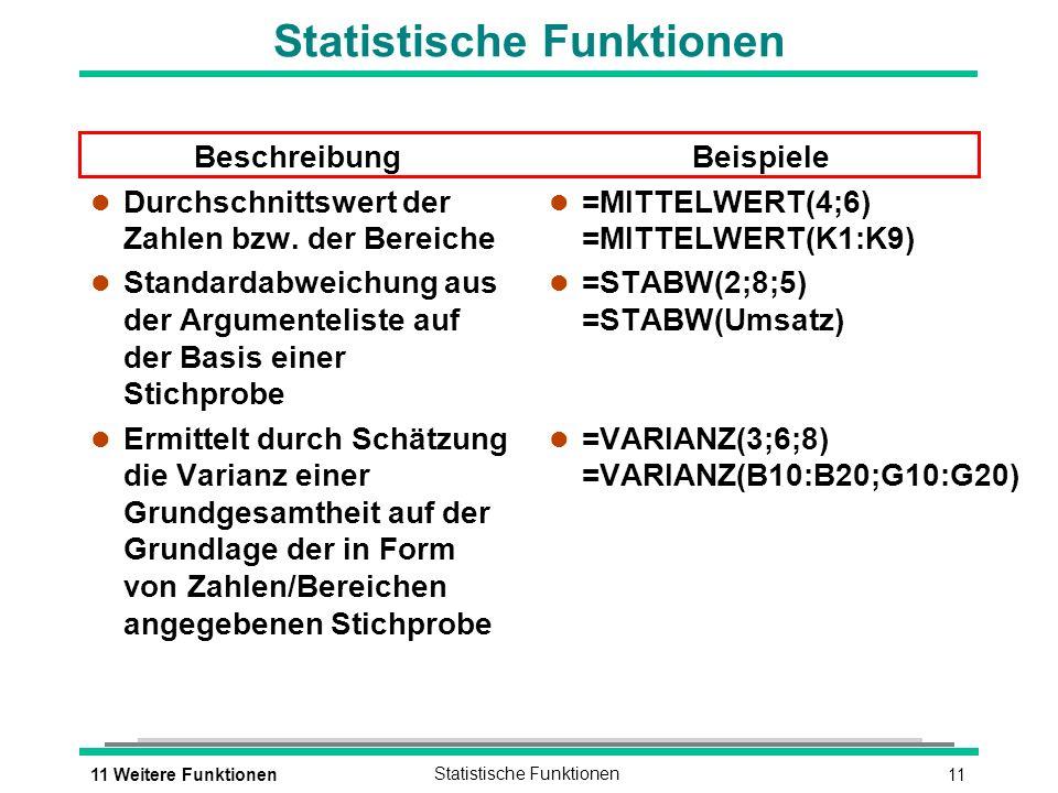 1111 Weitere FunktionenStatistische Funktionen Beschreibung l Durchschnittswert der Zahlen bzw.