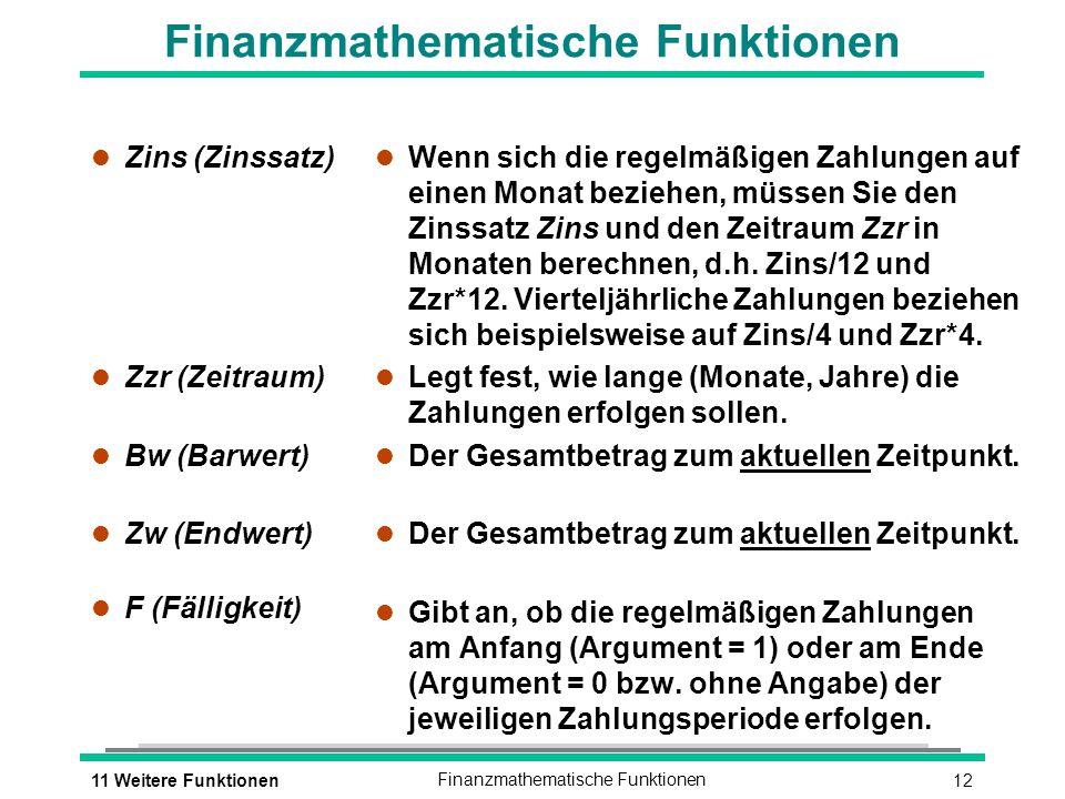 1211 Weitere FunktionenFinanzmathematische Funktionen l Zins (Zinssatz) l Zzr (Zeitraum) l Bw (Barwert) l Zw (Endwert) l F (Fälligkeit) l Wenn sich die regelmäßigen Zahlungen auf einen Monat beziehen, müssen Sie den Zinssatz Zins und den Zeitraum Zzr in Monaten berechnen, d.h.