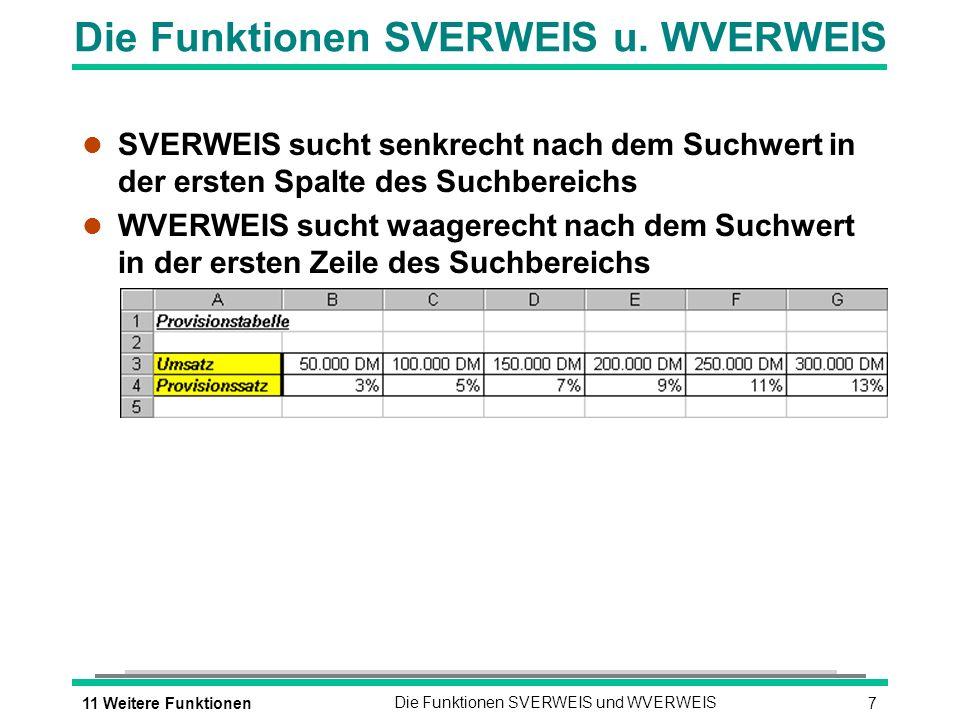 711 Weitere FunktionenDie Funktionen SVERWEIS und WVERWEIS Die Funktionen SVERWEIS u.