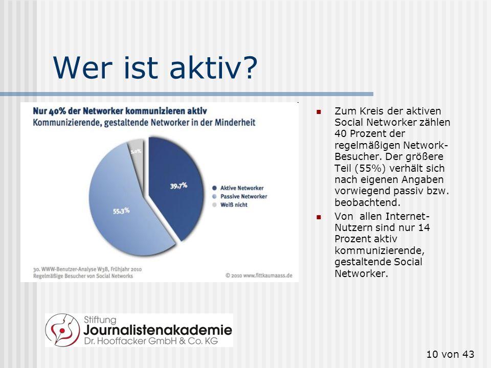 9 von 43 Wer nutzt sie? Wachstum stagniert 62 Prozent der Internet-Nutzer besuchen Social Networks. 35 Prozent nutzen Social Networks regelmäßig (= mi