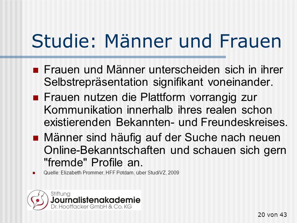 19 von 43 Fazit von Bernd Schorb Die soziale Realität spiegelt sich in den Sozialen Online- Netzwerken. Die Nähe von digitaler und physischer Realität