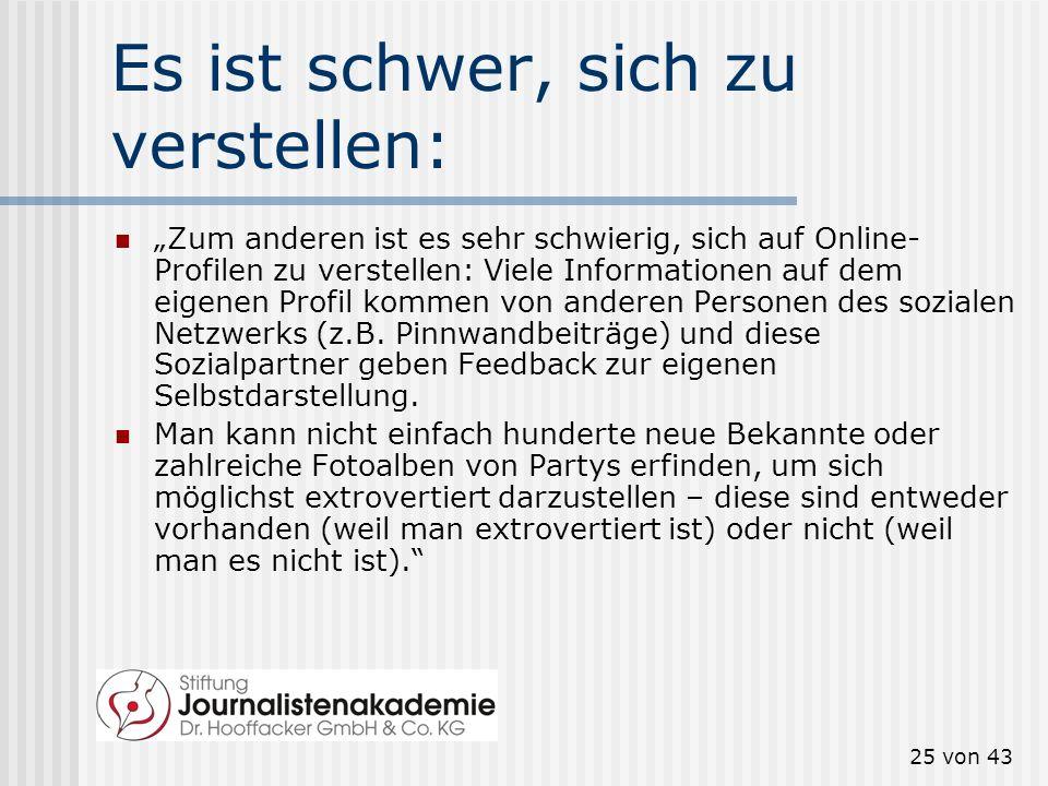 24 von 43 Warum Menschen in Sozialen Netzwerken kaum schwindeln, beantwortet Mitja Back von der Johannes- Gutenberg-Universität in Mainz: Zum einen, w