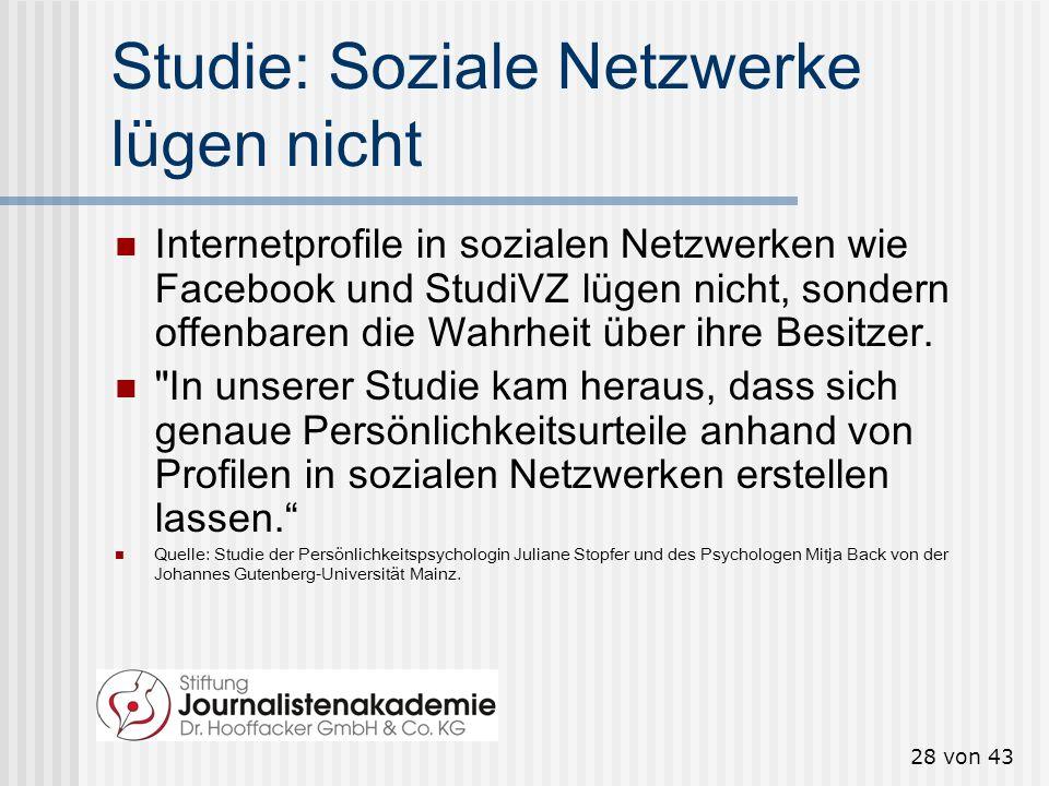 27 von 43 Soziale Netzwerke üben soziale Kontrolle aus Im Hinblick auf die soziale Kontrolle, die das eigene Netzwerk ausübt, fragte ein Panel des Soc