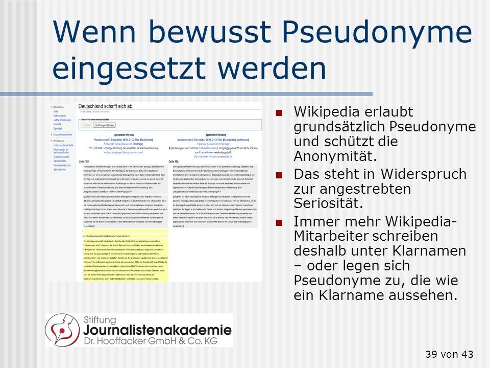 38 von 43 Informationen aus Social Media checken Social Media nutzen, aber richtig: Kontakte finden Bei Verwendung: 1. innerhalb, 2. außerhalb des Int