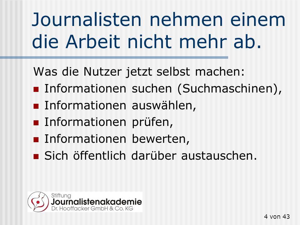 3 von 43 Medien: Was das Internet alles verändert hat Quelle: Christoph Neuberger, zitiert nach: Klaus Meier, Journalistik, Konstanz 2007