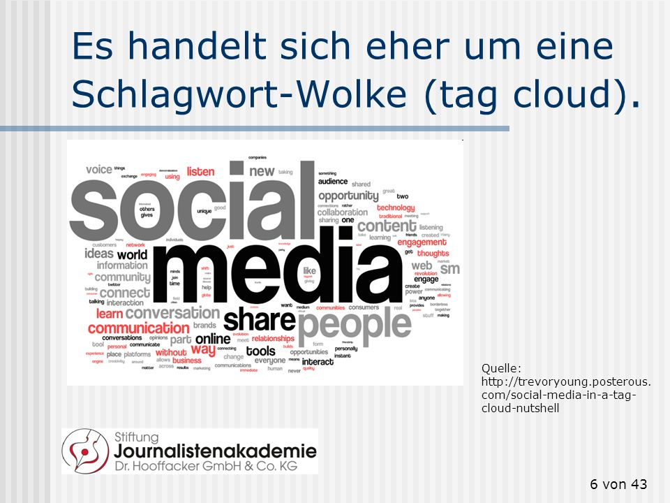 5 von 43 Social Media? Web 2.0? Der Begriff Social media löst den Begriff Web 2.0 allmählich ab. Aber was bedeutet Social Media?