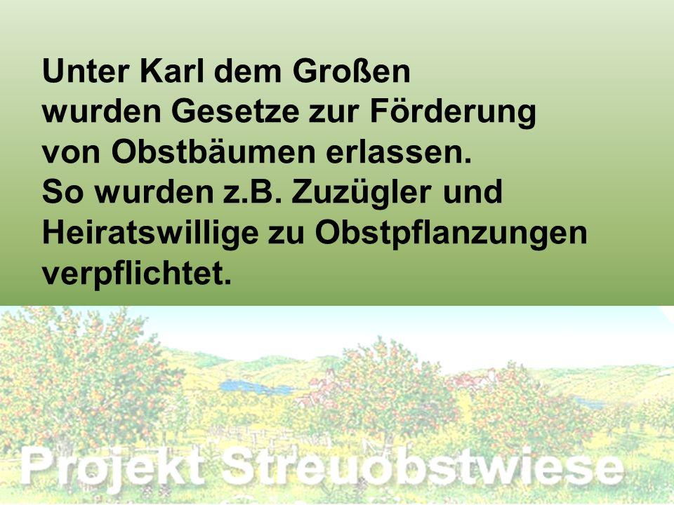 Unter Karl dem Großen wurden Gesetze zur Förderung von Obstbäumen erlassen. So wurden z.B. Zuzügler und Heiratswillige zu Obstpflanzungen verpflichtet