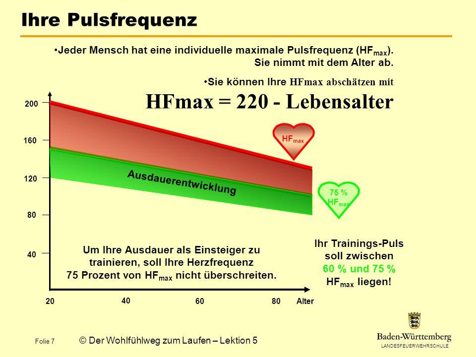 LANDESFEUERWEHRSCHULE Folie 7 © Der Wohlfühlweg zum Laufen – Lektion 5 Ihre Pulsfrequenz 40 80 120 160 200 20 40 6080 HF max A u s d a u e r e n t w i