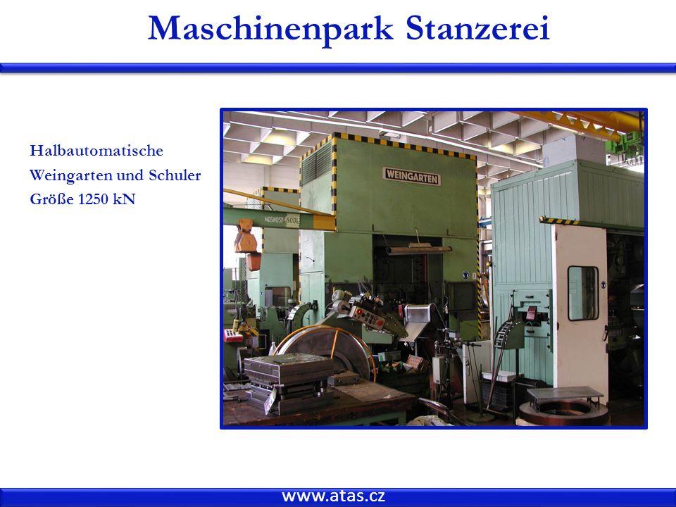 www.atas.cz Maschinenpark Stanzerei Halbautomatische Weingarten und Schuler Größe 1250 kN