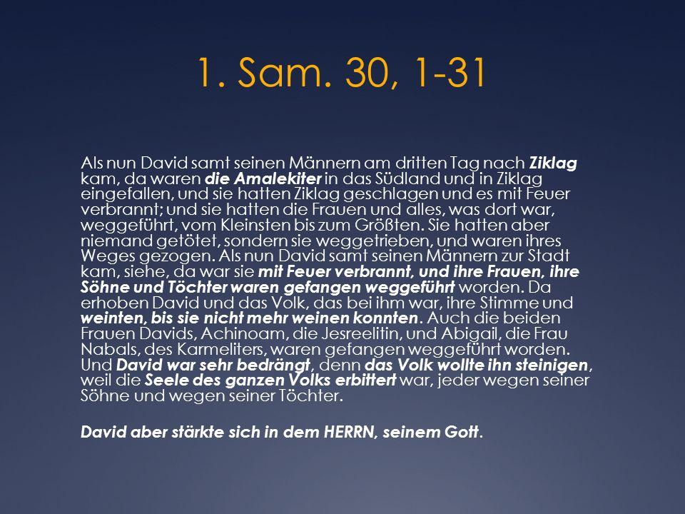 1. Sam. 30, 1-31 Als nun David samt seinen Männern am dritten Tag nach Ziklag kam, da waren die Amalekiter in das Südland und in Ziklag eingefallen, u
