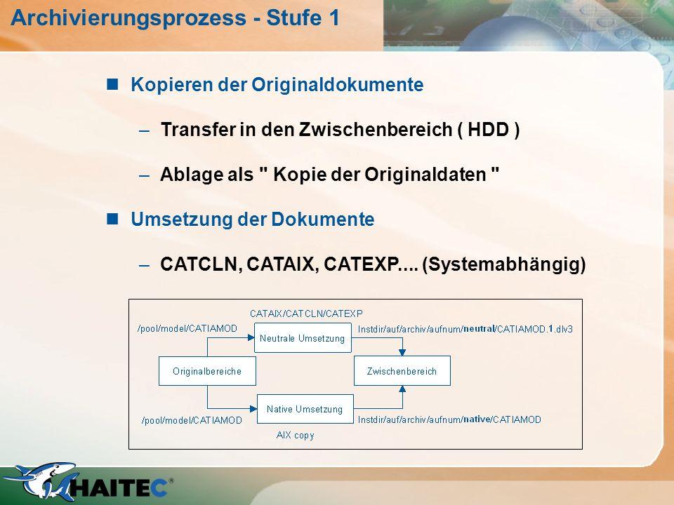 Archivierungsprozess - Stufe 1 nKopieren der Originaldokumente –Transfer in den Zwischenbereich ( HDD ) –Ablage als