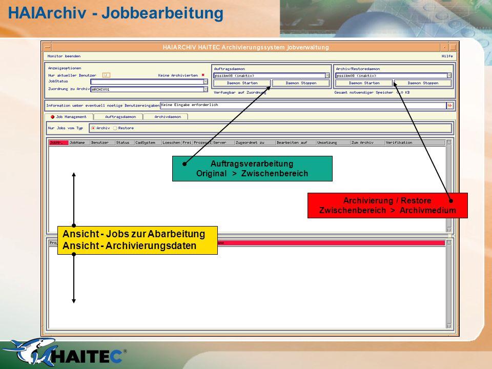 HAIArchiv - Jobbearbeitung Ansicht - Jobs zur Abarbeitung Ansicht - Archivierungsdaten Auftragsverarbeitung Original > Zwischenbereich Archivierung /