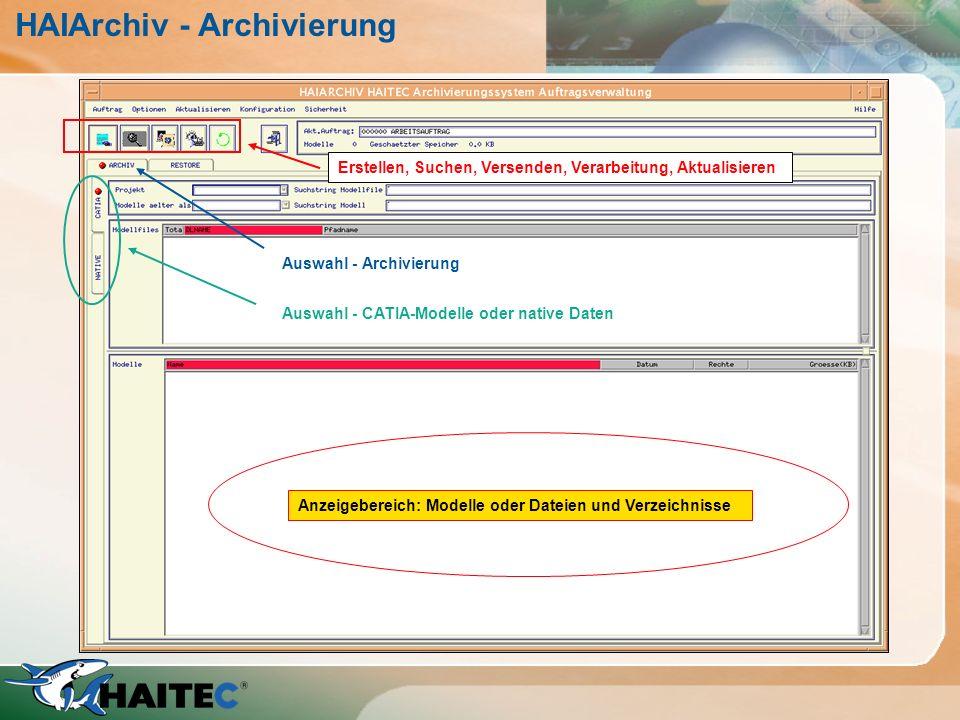 HAIArchiv - Archivierung Erstellen, Suchen, Versenden, Verarbeitung, Aktualisieren Auswahl - Archivierung Auswahl - CATIA-Modelle oder native Daten An
