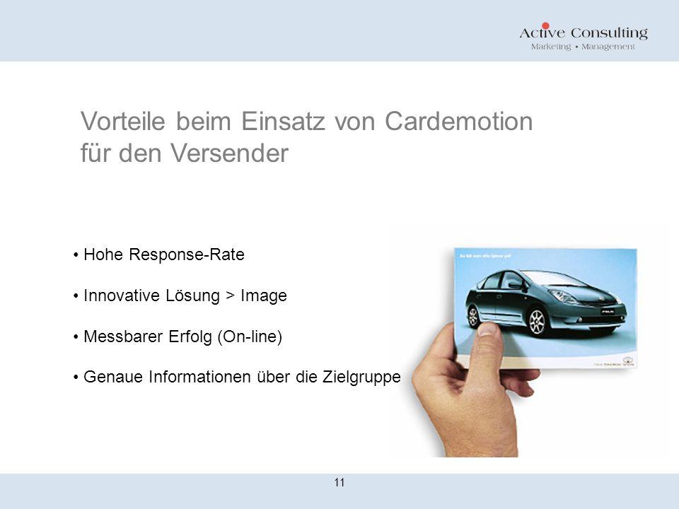 11 Vorteile beim Einsatz von Cardemotion für den Versender Hohe Response-Rate Innovative Lösung > Image Messbarer Erfolg (On-line) Genaue Informatione
